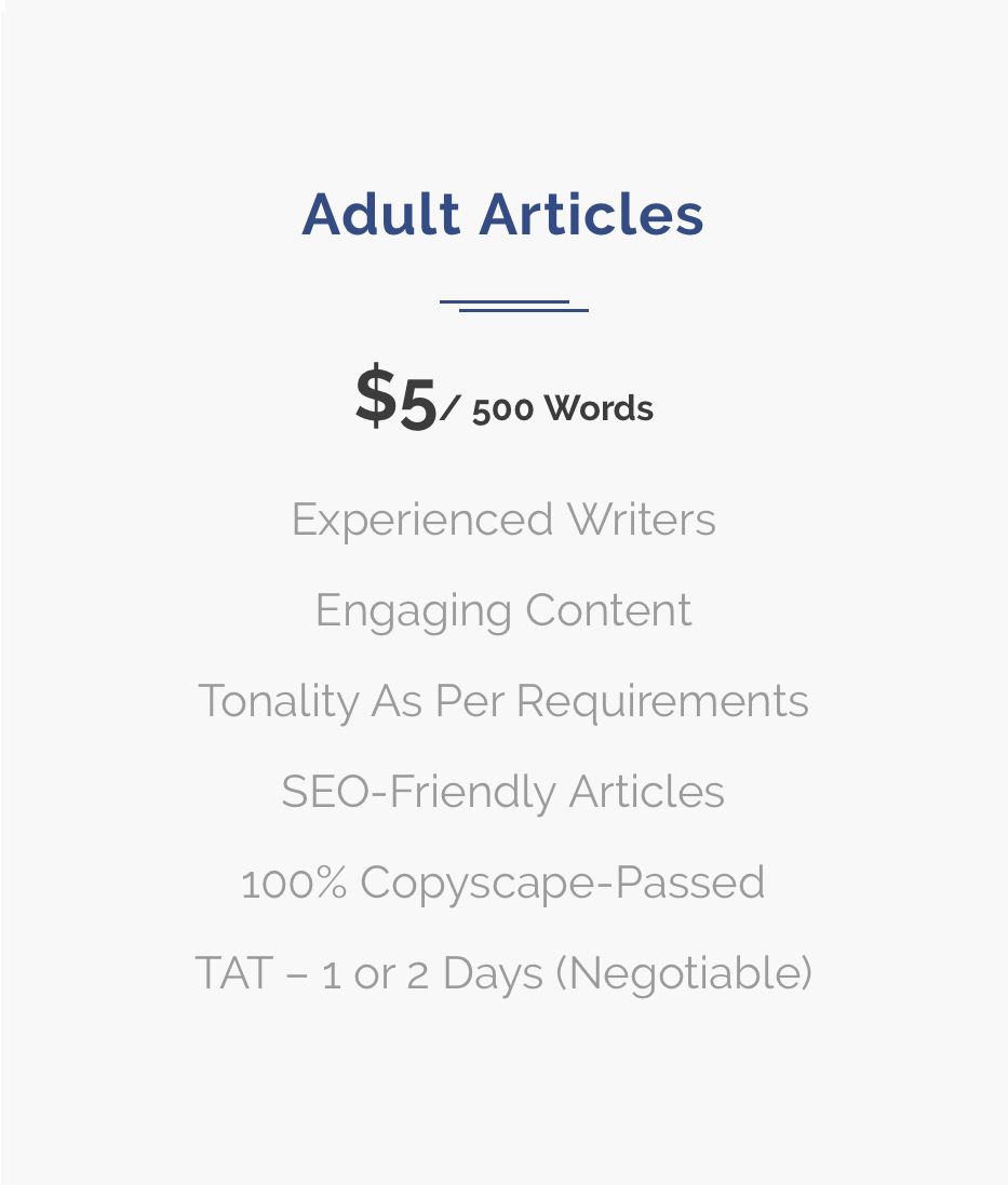 Adult Articles